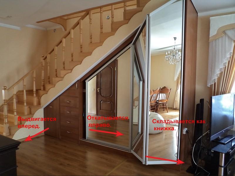 Как под лестницей сделать гардероб